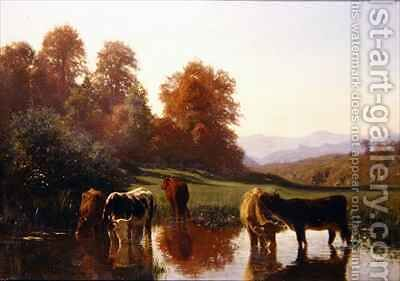 Cattle watering by Auguste Bonheur - Reproduction Oil Painting