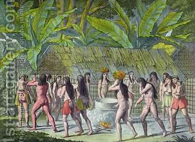 Dance of the Camacani Indians, Brazil by D.K. Bonatti - Reproduction Oil Painting