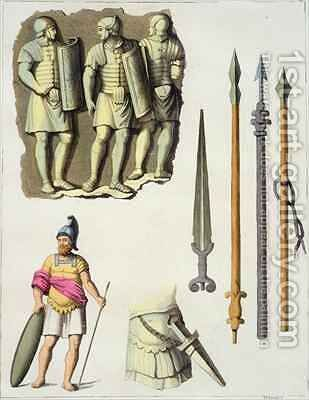 Uniform and weapons of Roman legionaries by D.K. Bonatti - Reproduction Oil Painting