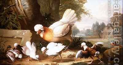 Poultry and Pigeons in a Landscape by (after) Boggi, Giovanni - Reproduction Oil Painting