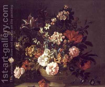 Roses, Tulips and other Flowers in an Urn on a Ledge by (after) Boggi, Giovanni - Reproduction Oil Painting