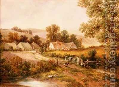 Farmyard scene by C.L. Boes - Reproduction Oil Painting