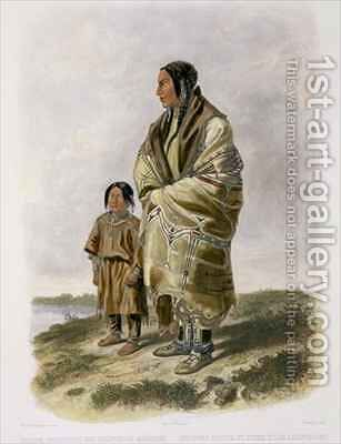 Dacota Woman and Assiniboin Girl by (after) Bodmer, Karl - Reproduction Oil Painting