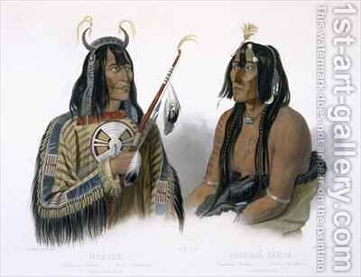 Noapeh, an Assiniboin Indian and Psihdja-Sahpa, a Yanktonan Indian by (after) Bodmer, Karl - Reproduction Oil Painting