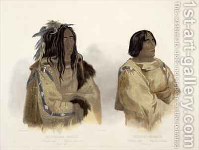 Mehkskeme-Sukahs, Blackfoot Chief and Tatsicki-Stomick, Piekann Chief by (after) Bodmer, Karl - Reproduction Oil Painting