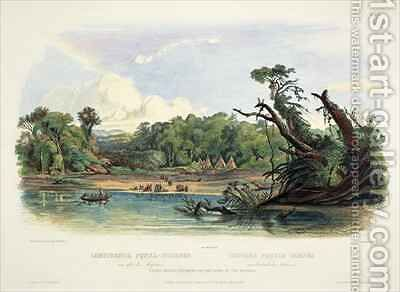 Punka Indians Encamped on the Banks of the Missouri by (after) Bodmer, Karl - Reproduction Oil Painting