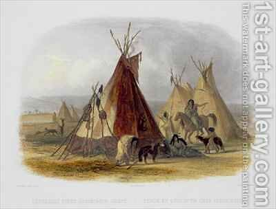 A Skin Lodge of an Assiniboin Chief by (after) Bodmer, Karl - Reproduction Oil Painting