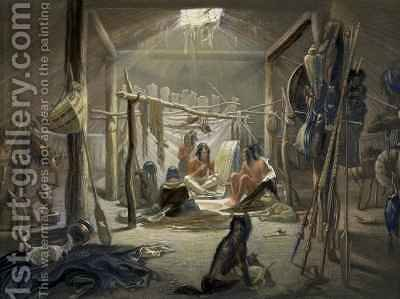 The Interior of a Hut of a Mandan Chief by (after) Bodmer, Karl - Reproduction Oil Painting