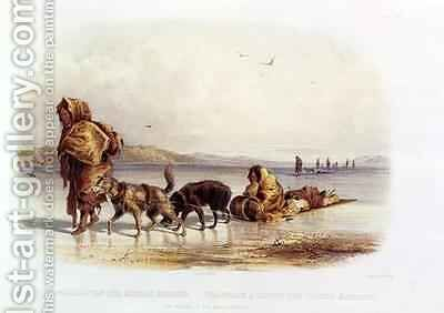 Dog Sledges of the Mandan Indians by (after) Bodmer, Karl - Reproduction Oil Painting