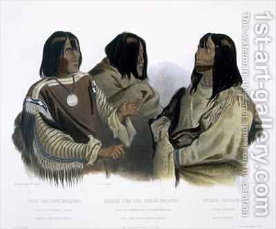 Chief of the Blood Indians, War Chief of the Piekann Indians and a Koutani Indian by (after) Bodmer, Karl - Reproduction Oil Painting