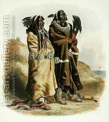 Sih-Chida and Mahchsi-Karehde, Mandan Indians by (after) Bodmer, Karl - Reproduction Oil Painting