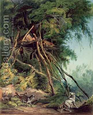 Tombs of Assiniboin Indians on Trees by (after) Bodmer, Karl - Reproduction Oil Painting