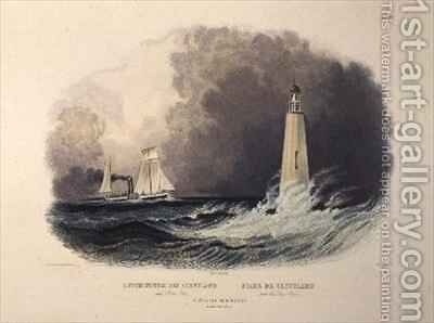Cleveland Lighthouse on the Lake Erie by (after) Bodmer, Karl - Reproduction Oil Painting