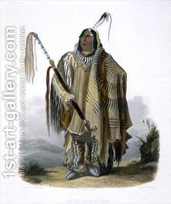 Pehriska-Ruhpa, a Minatarre or Big-Bellied Indian by (after) Bodmer, Karl - Reproduction Oil Painting
