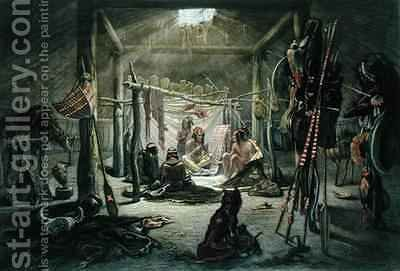 The Interior of the Hut of a Mandan Chief 2 by (after) Bodmer, Karl - Reproduction Oil Painting