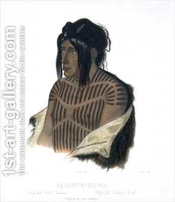 Mahsette-Kuiuab, Chief of the Cree Indians by (after) Bodmer, Karl - Reproduction Oil Painting