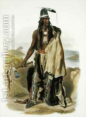 Abdih Hiddisch, a Minitarre Chief by (after) Bodmer, Karl - Reproduction Oil Painting