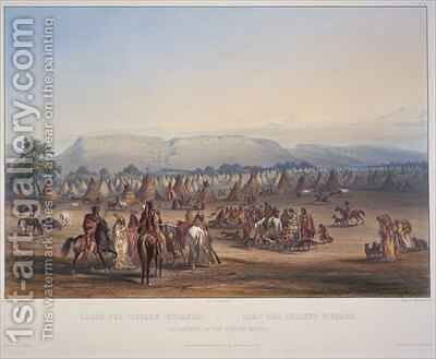 Encampment of the Piekann Indians 2 by (after) Bodmer, Karl - Reproduction Oil Painting