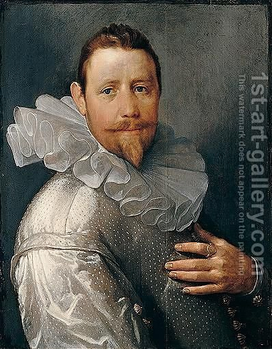Portrait Of A Gentleman, Possibly Pieter Woutersz. Van Stompwijck by Cornelis Cornelisz Van Haarlem - Reproduction Oil Painting