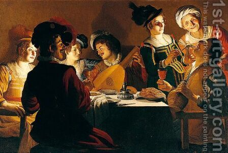 Merry Company With A Lute Player by (after) Honthorst, Gerrit van - Reproduction Oil Painting