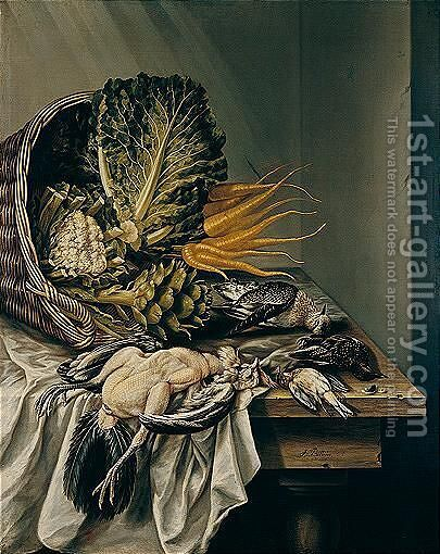 Still Life With An Overturned Basket Of Vegetables And Varoius Fowl On A White Cloth by Jacobus Biltius - Reproduction Oil Painting