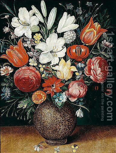 Still Life Of Flowers, Including Tulips, Lilies, An Iris, Marigold, And A Snowdrop In A Stoneware Vase by (after) Osias, The Elder Beert - Reproduction Oil Painting