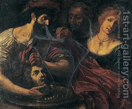 Salome With The Head Of Saint John The Baptist by (after) Alessandro Tiarini - Reproduction Oil Painting