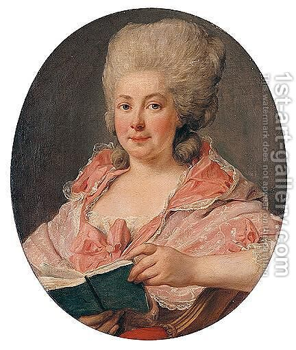 Portrait Of A Lady, Wearing A Lace-Trimmed Pink Dress And Holding A Book by Antoine Vestier - Reproduction Oil Painting
