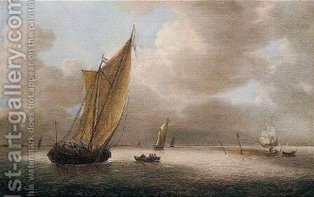 A Dutch Smalschip, A Frigate And Other Light Shipping In A Breeze by Hieronymus Van Diest - Reproduction Oil Painting