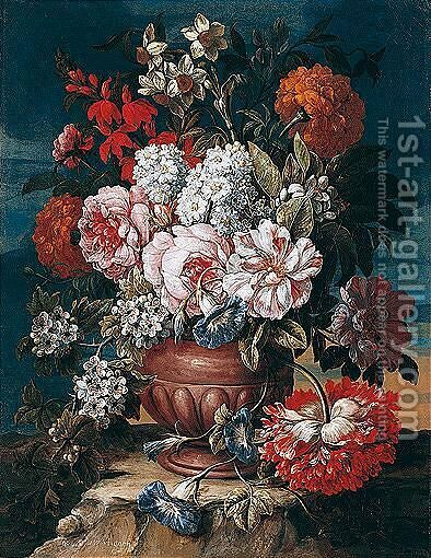 Still Life Of Roses, Narcissi, Carnations, Morning Glory And Orange Blossom, In A Sculpted Urn, Within A Landscape Setting by Caspar Pieter II Verbrugghen - Reproduction Oil Painting