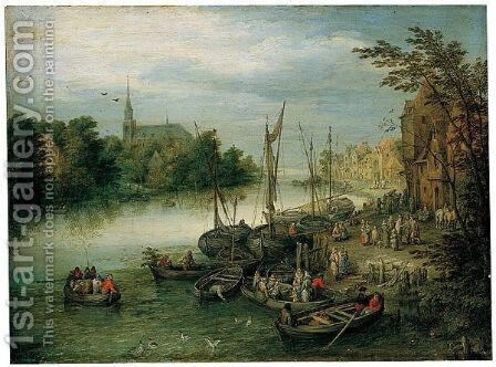A View Of A River Quayside, A Church In The Distance by Jan, the Younger Brueghel - Reproduction Oil Painting