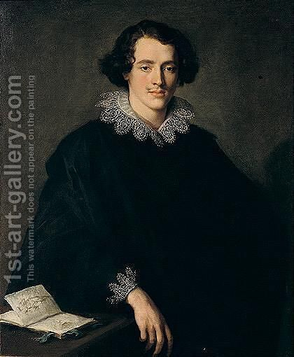 Portrait Of A Young Man With A Sketchbook by Domenico Fiasella - Reproduction Oil Painting