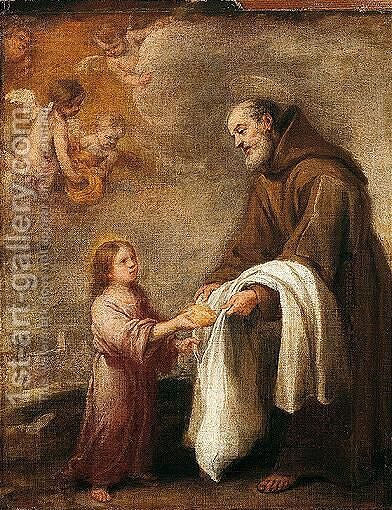 San Felix De Cantalicio With The Infant Christ by Bartolome Esteban Murillo - Reproduction Oil Painting
