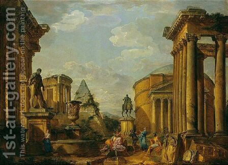 A Capriccio Of Roman Monuments With Saint Peter Preaching by Giovanni Paolo Panini - Reproduction Oil Painting