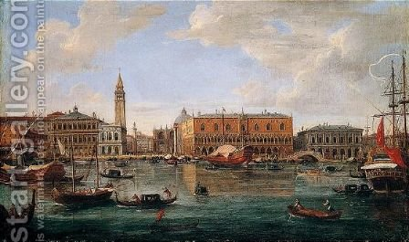 Venice, A View Of The Molo From The Bacino Di San Marco Looking North Towards The Piazzetta And The Palazzo Ducale by Caspar Andriaans Van Wittel - Reproduction Oil Painting