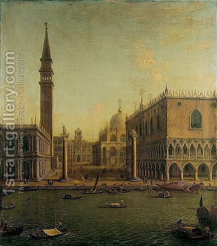 Venice, A View Of The Bacino Di San Marco With The Piazzetta And The Palazzo Ducale Looking North Towards The Torre Dell' Orologio by Antonio Joli - Reproduction Oil Painting