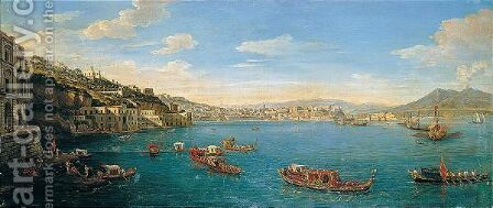 A Prospect Of Posillipo With The Palazzo Donn'Anna And Naples In The Background by Caspar Andriaans Van Wittel - Reproduction Oil Painting
