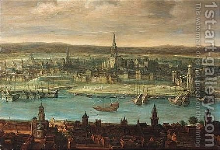 A Capriccio View Of Antwerp by (after) Louis De Caullery - Reproduction Oil Painting