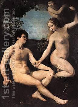 The Temptation Of Adam And Eve by (after) Dosso Dossi - Reproduction Oil Painting
