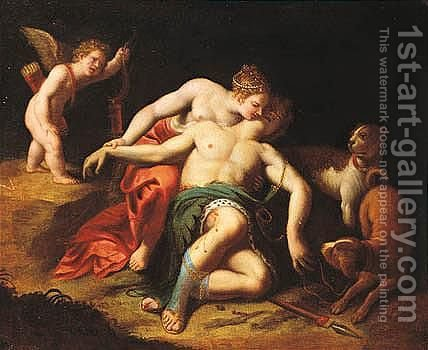 Venus And Adonis by (after) Alessandro Turchi (Orbetto - Reproduction Oil Painting