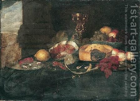 Still Life Of Fruit In A Blue-And-White Porcelain Bowl, Grapes, Peaches, A Pie, Peeled And Whole Lemons On Pewter Plates, Shrimp, A Ham, And An Ormolu Tazza Behind, All Set Upon A Table by (after) Jan Davidsz. De Heem - Reproduction Oil Painting