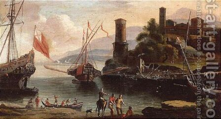 A View Of An Italianate Harbour by (after) Adriaen Van Der Kabel - Reproduction Oil Painting