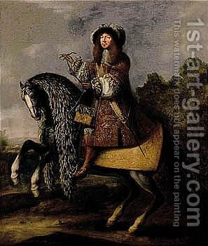 Equestrian Portrait Of A Gentleman by (after) Adam Frans Van Der Meulen - Reproduction Oil Painting