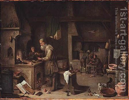 The Alchemist by (after)  David The Younger Teniers - Reproduction Oil Painting