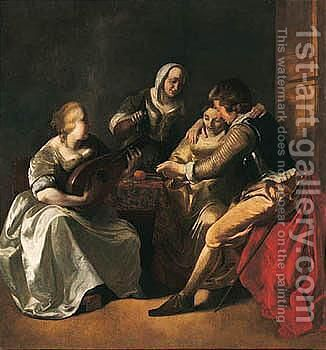 An Interior With A Couple Seated At A Table, Another Lady Playing The Lute And A Man Standing Behind by Jacob Ochtervelt - Reproduction Oil Painting