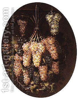 Still Life Of Red And White Grapes by (after) Francesco Malagoli - Reproduction Oil Painting