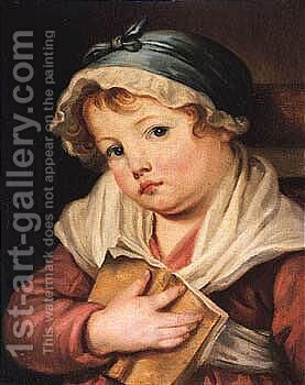 A Young Child Holding A Book by (after) Greuze, Jean Baptiste - Reproduction Oil Painting