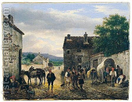 Village Scene With Figures And Donkeys Before A House by Guiseppe Canella - Reproduction Oil Painting