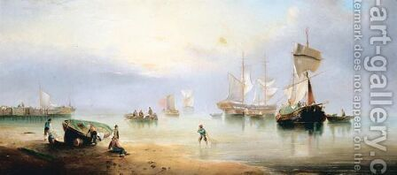 Harbour Scene by (after) Henry Redmore - Reproduction Oil Painting