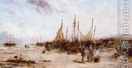 Fishing Boats On The Beach by (after) William Joseph Julius Caesar Bond - Reproduction Oil Painting